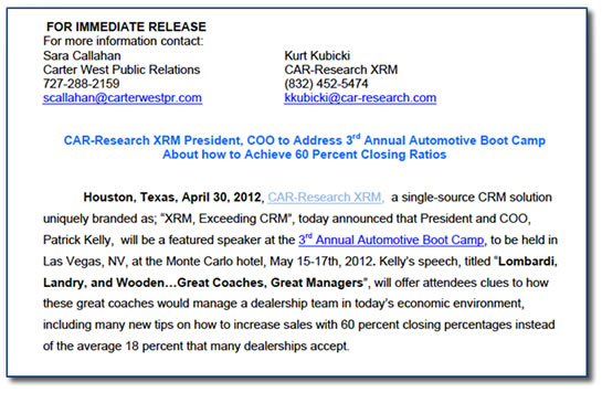 new car press releaseThe 4 Fundamentals of Writing a Good Press Release  Automotive